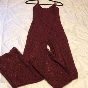 Dark red lace jumpsuit